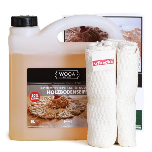 3l Holzbodenseife natur mit Bodentuch